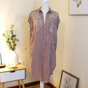 Free People Striped tunic with floral embroidered. Size small.